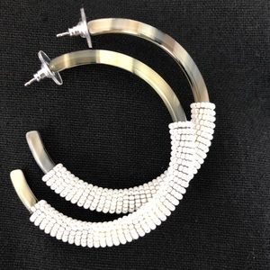 J.Crew Tortoise Hoops with White Seed Beads